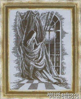 Девочка у окна вышивка