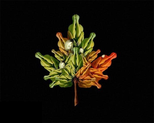 Креативные цветы из людей 8