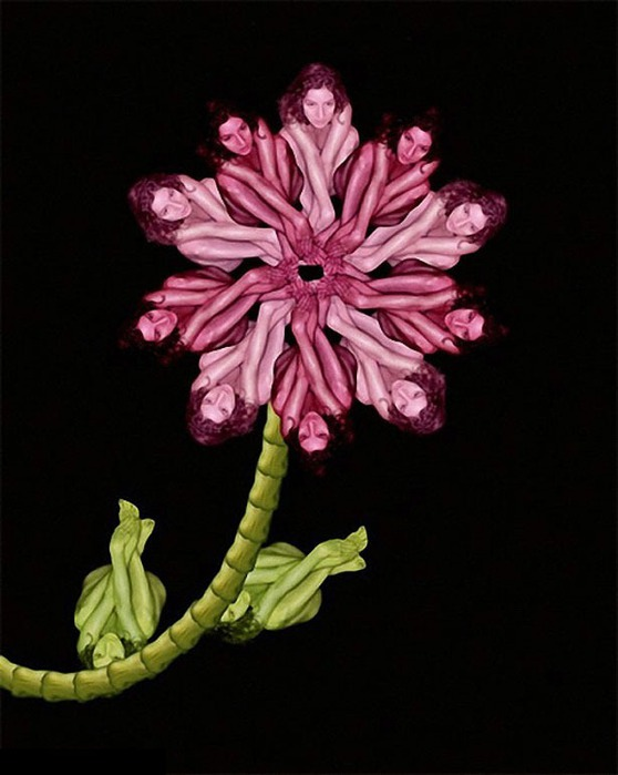 Креативные цветы из людей 19