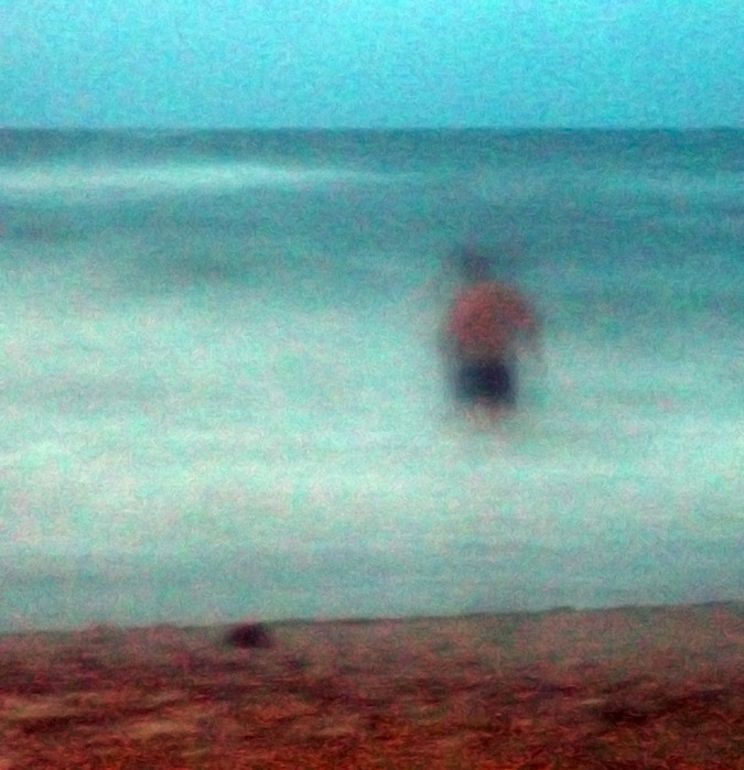 море ночью, волны