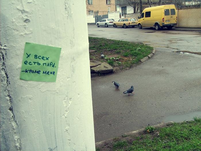 монолог с городом, бумажки с надписями, у всех есть пара, два голубя