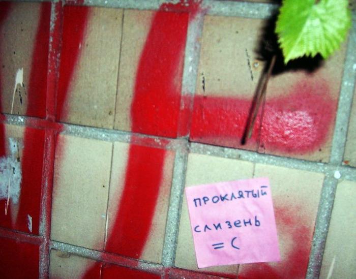 монолог с городом, бумажки с надписями, проклятый слизень