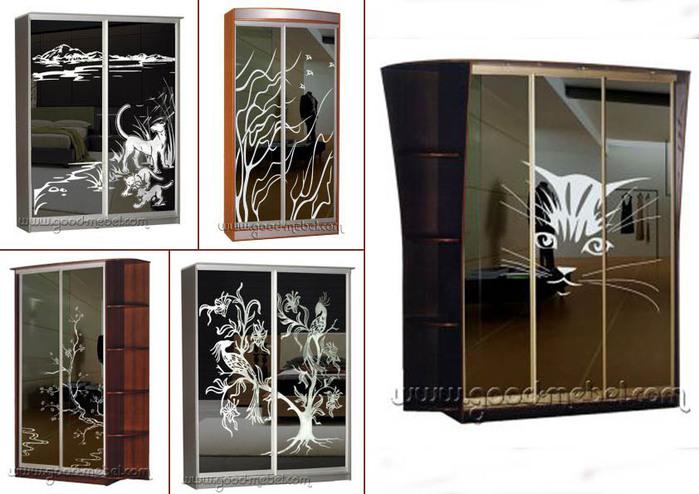 шкафы с зеркальным рисунком