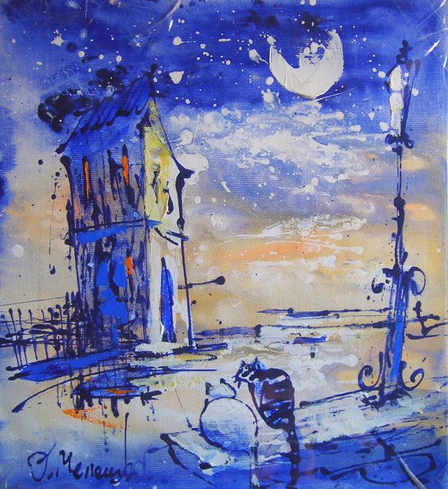 олег мелешко, коты и город, картина, одесса, художник