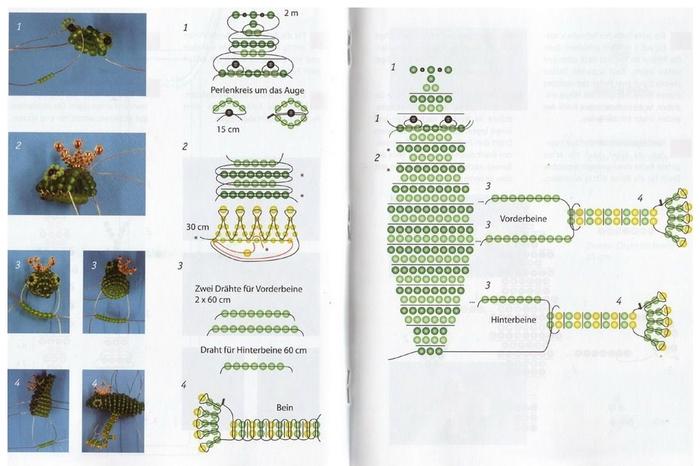 Схема плетения змеи из бисера: