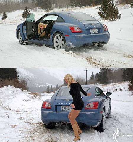Блондинка за рулем в короткой юбке фото 771-48