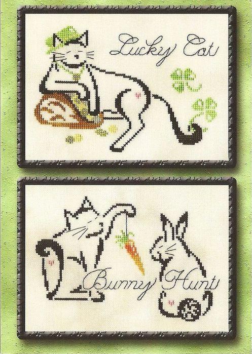 схема вышивки кролика и котенка