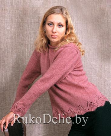 Розовый пуловер с ажурной каймой (367x450, 42 Kb)