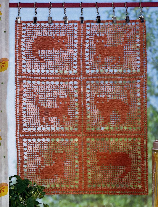 филейка, занавеска с кошками