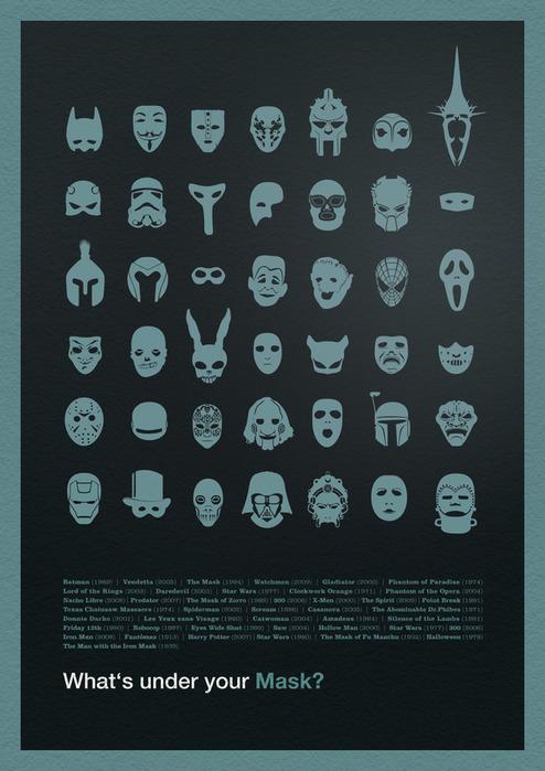 маски героев популярных голливудских фильмов