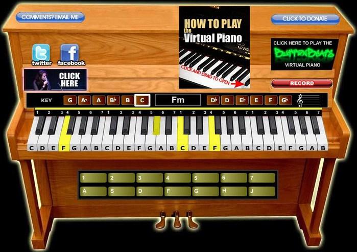 Виртуальное пианино. Компьютерные развлекалки