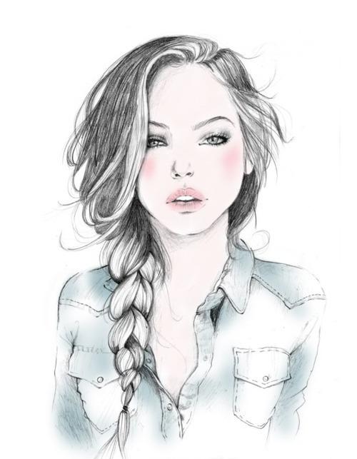 нарисованные девушки простым карандашом: