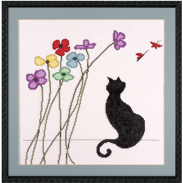 Вышивка крестом кот монохром