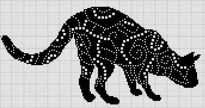 Схема вышивки кота в монохроме