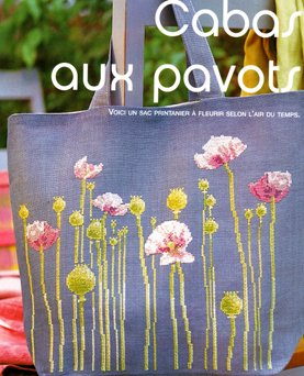 crafts bags: poppies cross stitch for decor