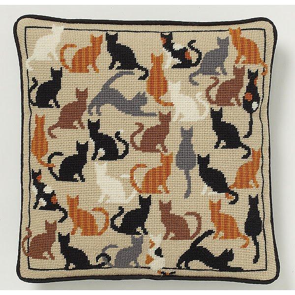 Вышивка подушка кошки схемы
