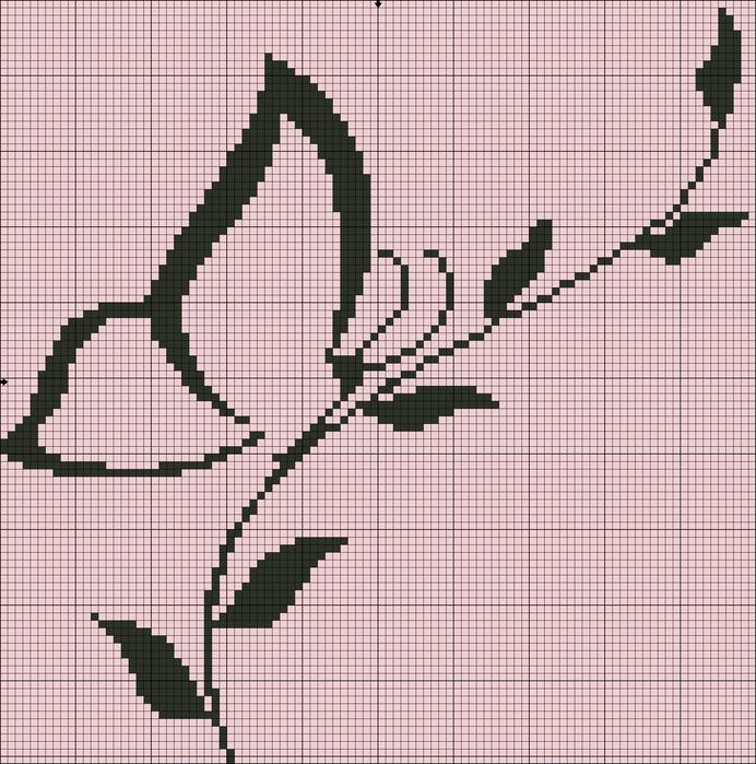 Бабочка монохром вышивка крестом