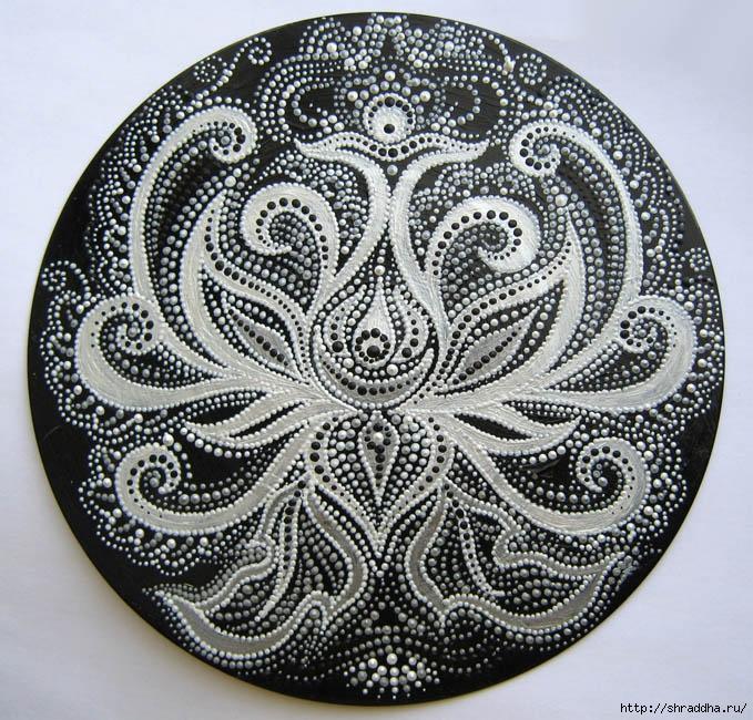 виниловая пластинка роспись акрил белое и черное