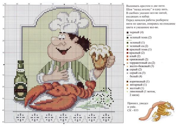 схема вышивки повара - Самое