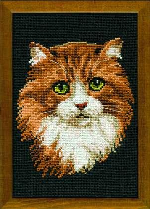 Вышивка. Рыжий кот.