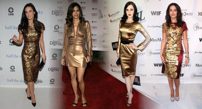 Черно-золотое платье макияж