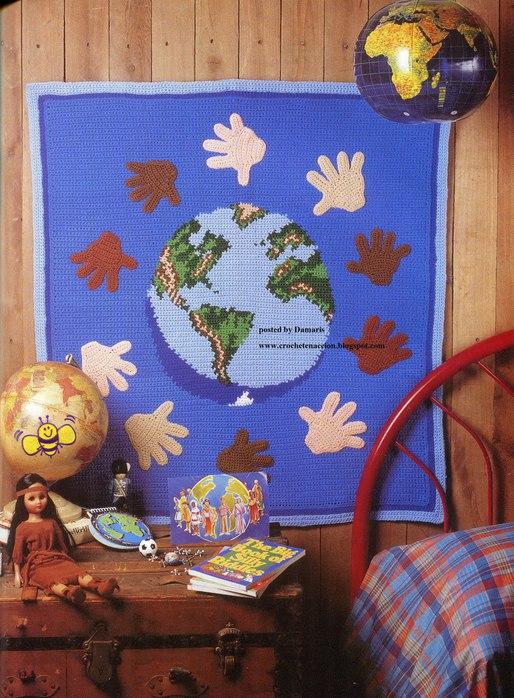 плетено пано карта на света