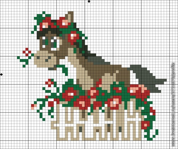 Лошадки. 2 Схемы вышивки