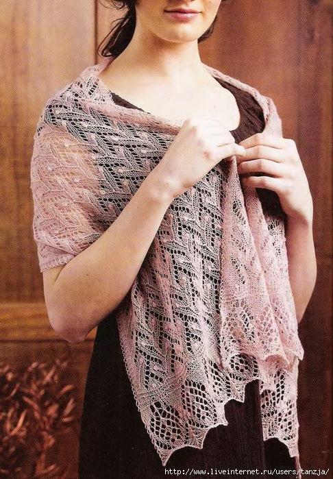 шарфы , палантины спицами