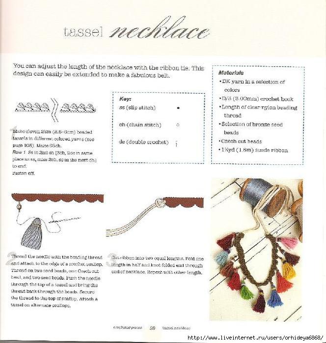 схемы вязания украшений