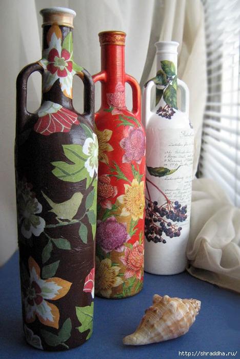 Декпаж, акрил, декорирование бутылки, Shraddha