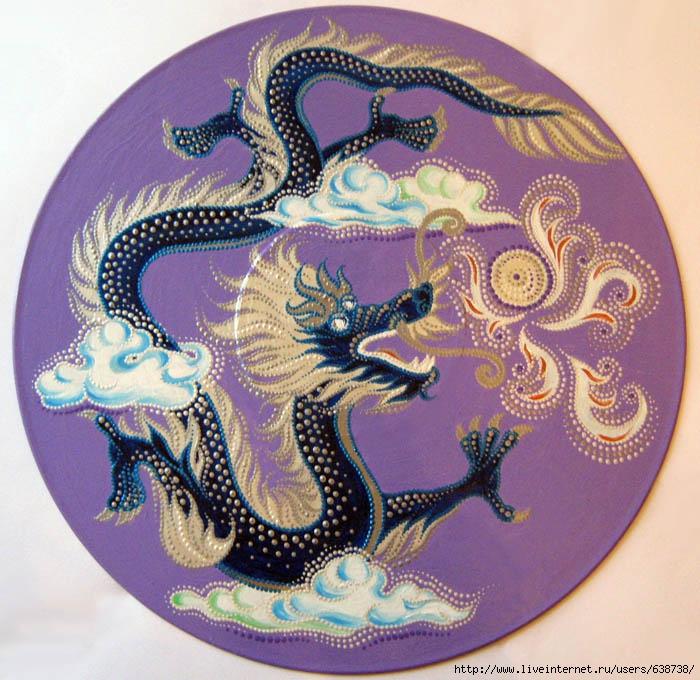 Синий дракон, акрил, Shraddha