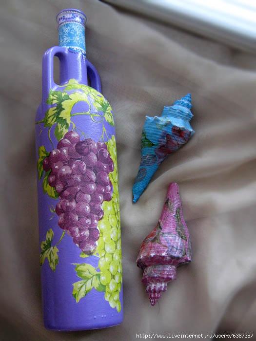 декорирование бутылки, декупаж, акрил, Shraddha