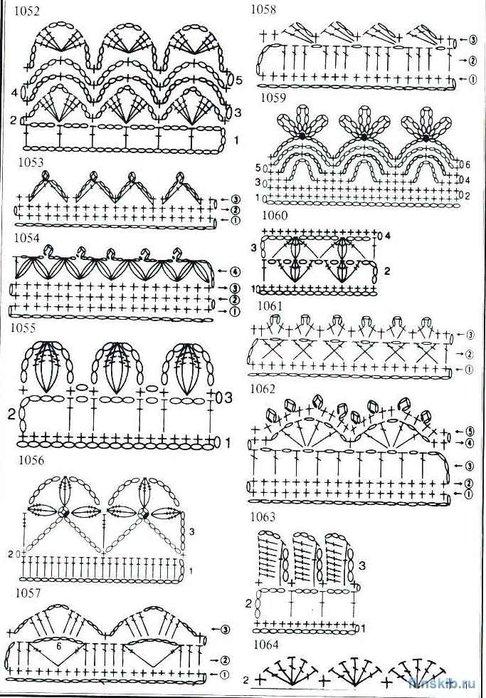 Простые ажурные узоры крючком. вязание крючком ажурный шарф схемы.
