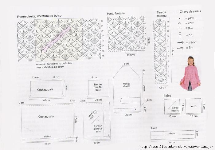 Схема вязания спицами кардигана для девочки 1-2 года 33