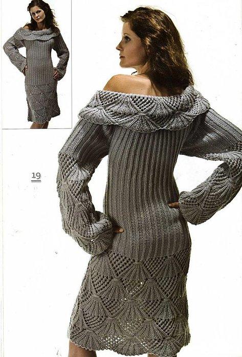 Связать серое платье спицами