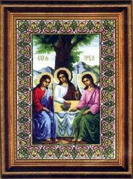 Икона Святая Троица.  Размер: 27 х 38...  В состав набора входит: канва для вышивания 6 белого цвета, мулине (СПб)...