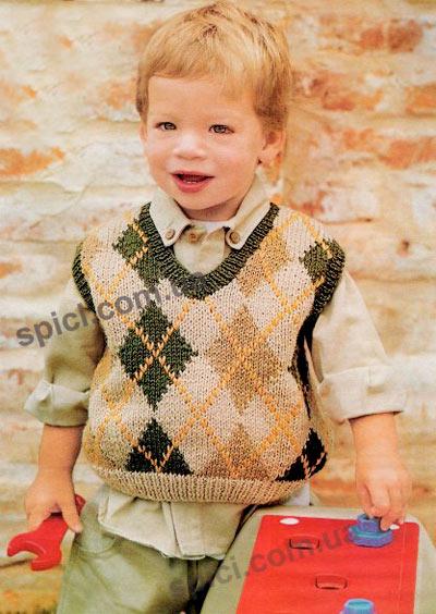 Вязание жилета для мальчика схема жилета с капюшоном - Модели вязания...