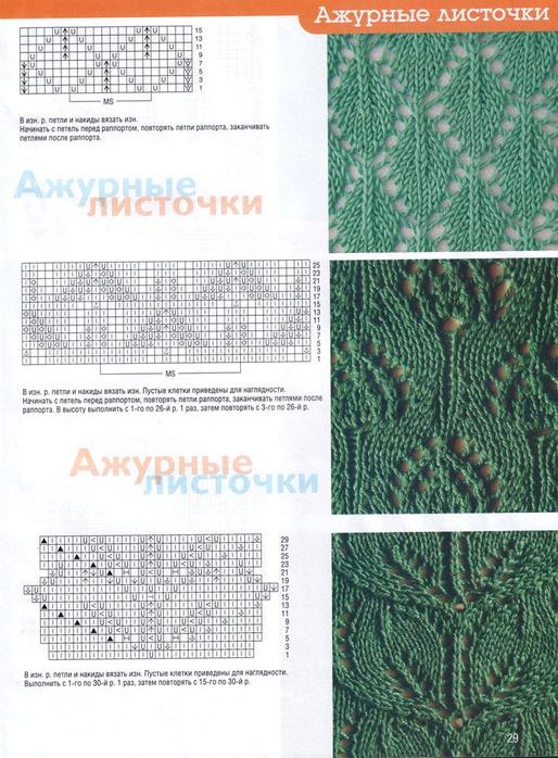 Узоры для вязания спицами со схемами листочки