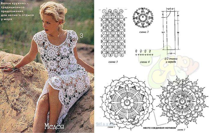 Вязание платьев из мотивов