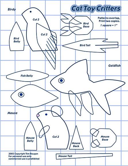 Попугай, рыбка и мышка (выкройки). светик - Блоги@Mail.Ru...