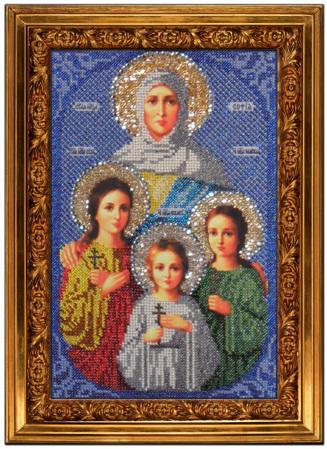 Фото Набор для вышивания бисером Икона Вера, Надежда, Любовь и матерь их София(икона бисером) .