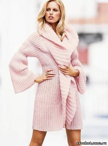 Симпатичное платье.  Часть 28 - Близятся холода - вяжем пальто и пончо Часть...