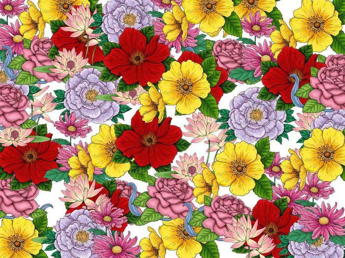 Цветы нарисованные