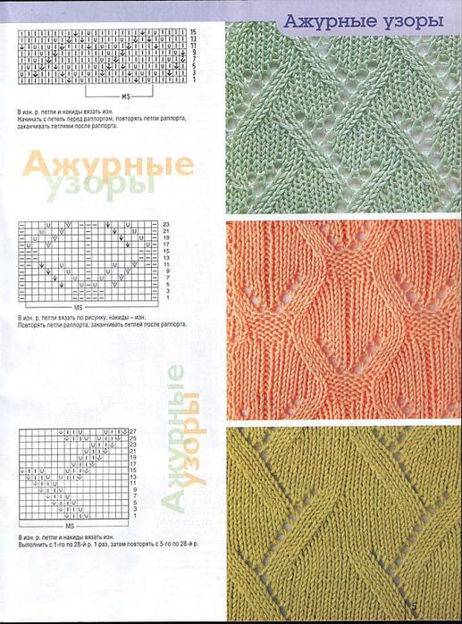 Описание: b схемы вязания спицами ажурных узоров. ажурное вязание на спицах узоры.