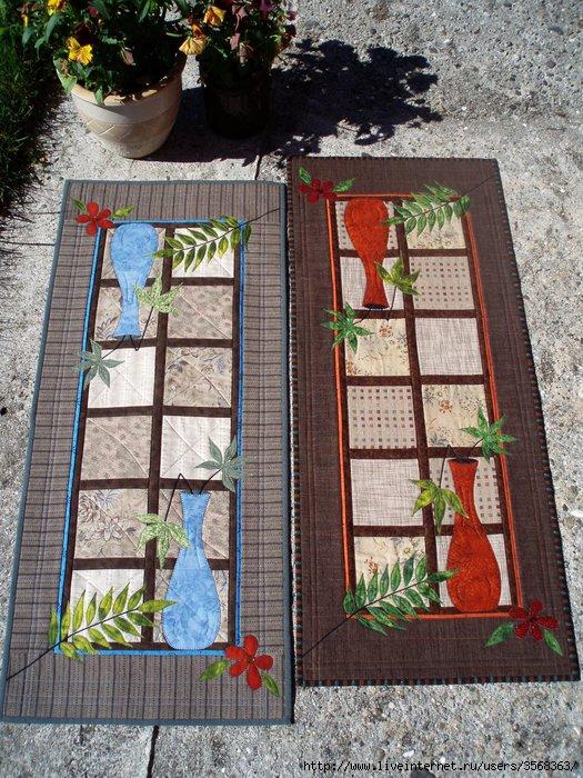 Идейное.  Лоскутное шитьё.  Салфетки и дорожка с цветами.  Схема сборки.  Часть 2 - Салфетки 2 Часть 3.