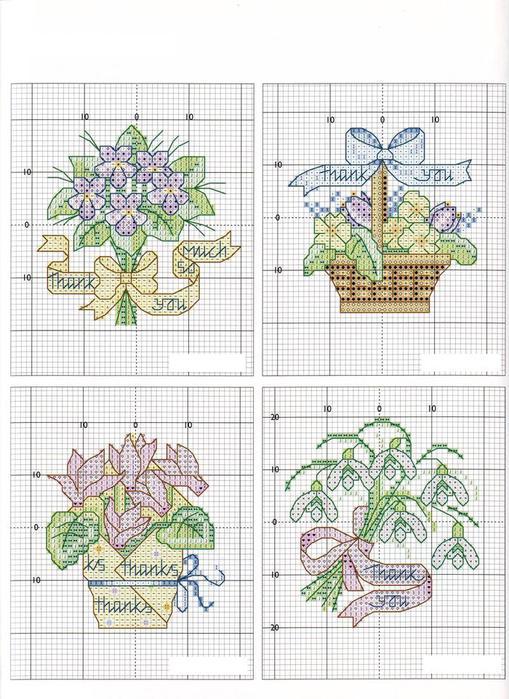 Схемы вышивки крестом открытки цветы