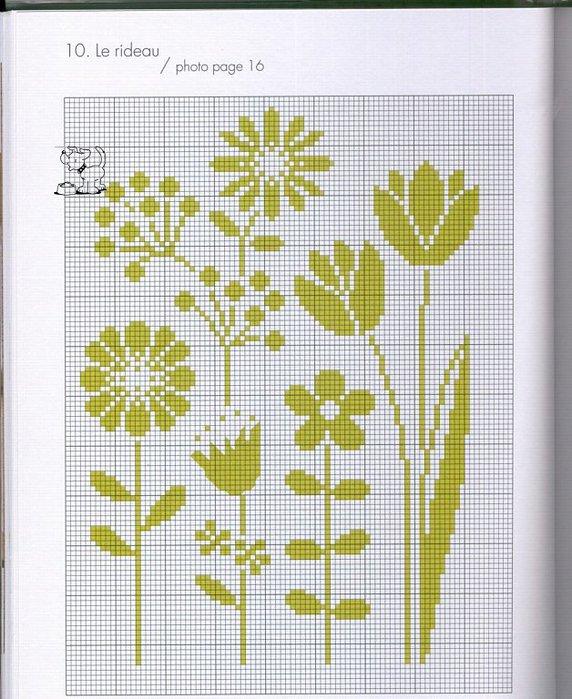 Схемы для вышивки монохром цветы 751