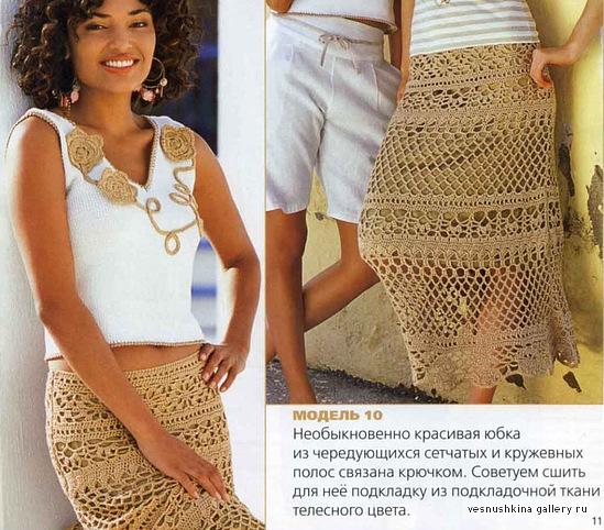 Фото юбки крючком из сетчатых и кружевных полос.