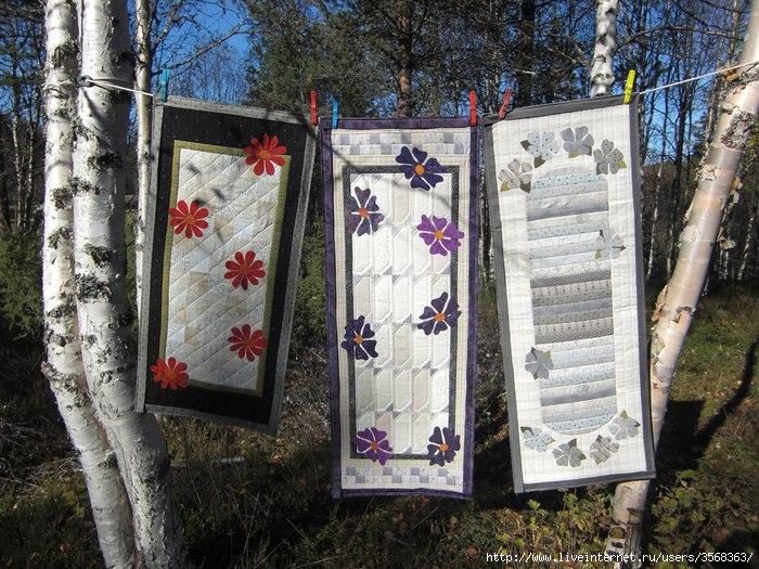 Лоскутные салфетки (2). Лоскутное шитьё.  Салфетки и дорожка с цветами.  Схема сборки.