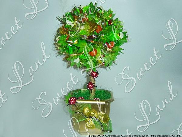 Дерево из конфет своими руками вам нужно:* пенопластовые шары* целлофан* деревянные дюбели* горшок для каждого дерева